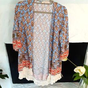 Altar'd State boho chic kimono with fringe size S
